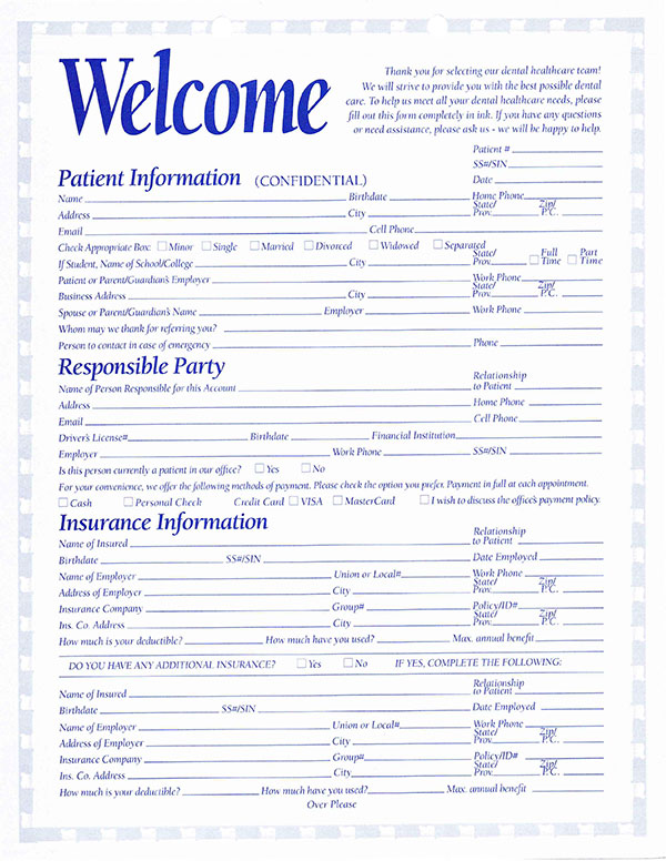 Elgin Dentist New Patient Form